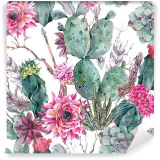 Cactus watercolor seamless pattern in boho style. Washable Wall Mural