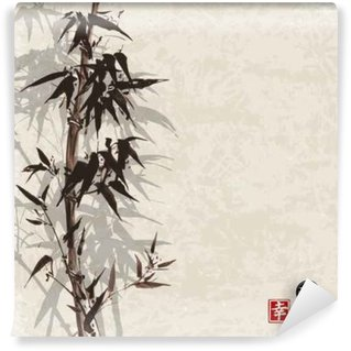 Washable Wall Mural Card with bamboo on vintage background in sumi-e style. Hand-drawn with ink. Contains hieroglyph - happiness, luck