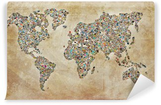 Carte du monde photos, texture vintage Washable Wall Mural