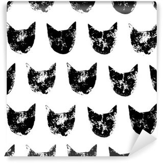 Washable Wall Mural Cat head grunge prints seamless pattern in black and white, vector