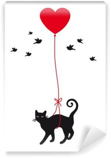 Washable Wall Mural cat with heart balloon, vector