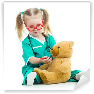 Washable Wall Mural child girl dressed as doctor playing with toy