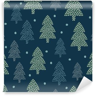 Christmas pattern - Xmas trees and snow. Happy New Year nature seamless background. Forest design for winter holidays. Vector winter holidays print for textile, wallpaper, fabric, wallpaper. Washable Wall Mural