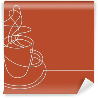continuous line drawing of cup of coffee Washable Wall Mural
