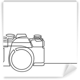 continuous line drawing of retro photo camera Washable Wall Mural
