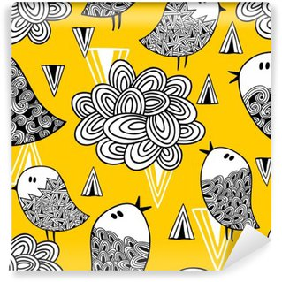 Washable Wall Mural Creative seamless pattern with doodle bird and design elements.