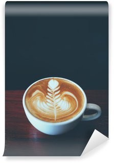 Washable Wall Mural cup of coffee latte art in coffee shop