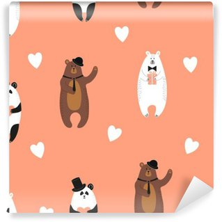 Cute bears pattern. Seamless romantic background with polar bear, brown bear and panda. Washable Wall Mural