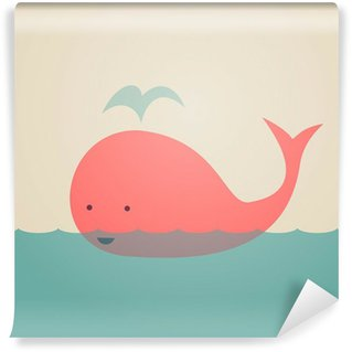 Cute Whale Washable Wall Mural