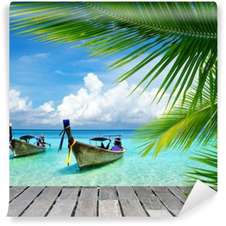 Deck with a view of a tropical sea Washable Wall Mural
