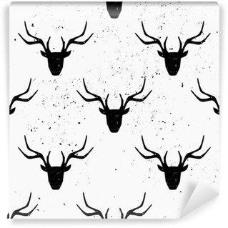 Deer Head Silhouette Seamless Pattern Washable Wall Mural
