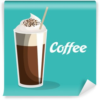 delicious coffee iced beverage vector illustration design Washable Wall Mural