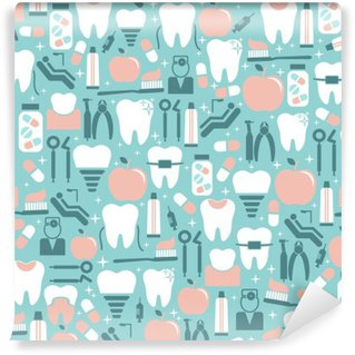 Dental Care Graphics on Blue Background Washable Wall Mural