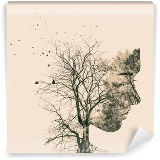 Washable Wall Mural Double exposure portrait of young woman and autumn trees.