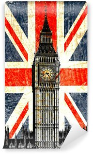 drapeau anglais big ben vertical wall mural vinyl. Black Bedroom Furniture Sets. Home Design Ideas