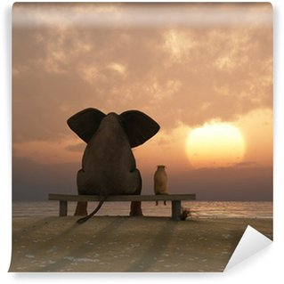Washable Wall Mural elephant and dog sit on a summer beach