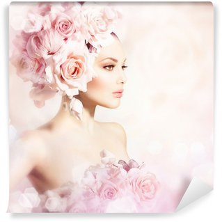 Washable Wall Mural Fashion Beauty Model Girl with Flowers Hair. Bride