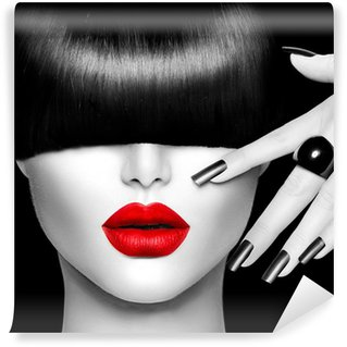 Washable Wall Mural Fashion Model Girl with Trendy Hairstyle, Makeup and Manicure