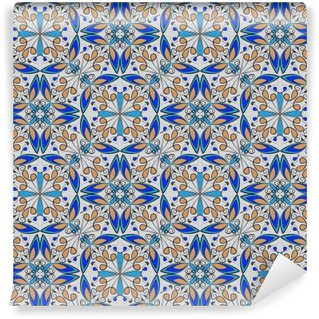 Fine oriental colorful carpet or ceramic ornament in orange and blue colors with white curves on black background, vector symmetric geometric patterns