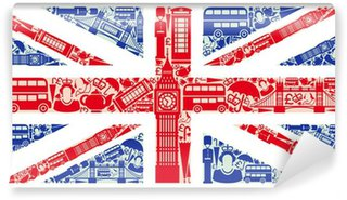 Flag of England from symbols of the United Kingdom and London Washable Wall Mural