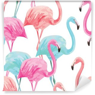 flamingo watercolor pattern Washable Wall Mural