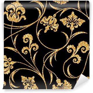 Washable Wall Mural floral golden wallpaper