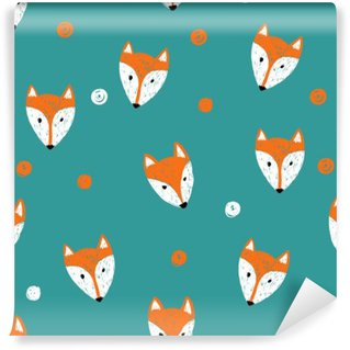 Fox seamless pattern. Doodle background. Washable Wall Mural