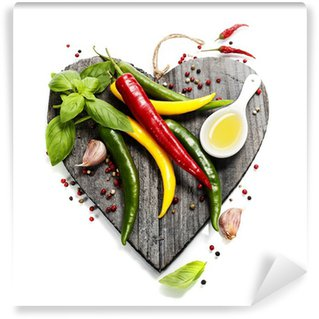 Washable Wall Mural Fresh vegetables on heart shaped cutting board