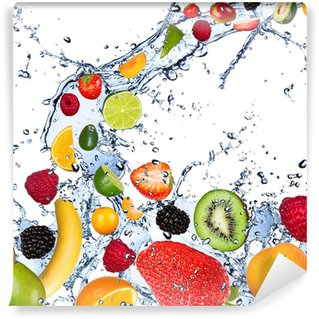 Washable Wall Mural Fruits falling in water splash, isolated on white background