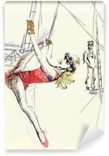 Washable Wall Mural gymnastics and circus topic - hand drawing into vector