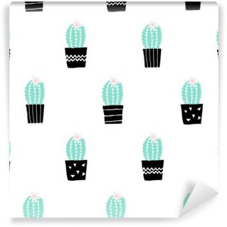 Washable Wall Mural Hand Drawn Cactus Pattern