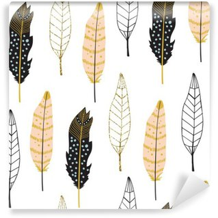 Washable Wall Mural Hand Drawn Feathers Seamless Pattern