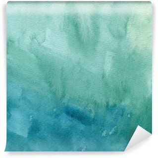 Washable Wall Mural Hand drawn turquoise blue, green watercolor abstract paint texture. Raster gradient splash background.