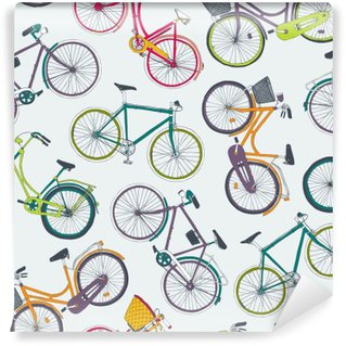 Washable Wall Mural hand drawn vector seamless pattern with city bikes