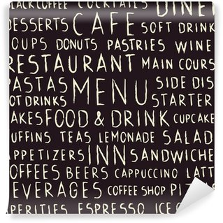Handwritten restaurant related seamless pattern on blackboard Washable Wall Mural