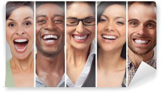 Happy people faces set Washable Wall Mural