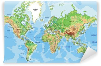 Highly detailed physical World map with labeling.