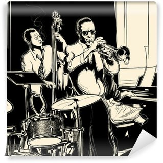Washable Wall Mural Jazz band with double-bass trumpet piano and drum