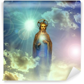 Washable Wall Mural jesus christ gold statue with blue sky clouds background