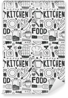 Kitchen elements doodles hand drawn line icon,eps10 Washable Wall Mural
