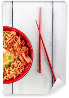 Washable Wall Mural Korean Ramen with Kimchi on white wood