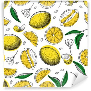 Lemon vector seamless pattern. Drawing lemon colorful background Washable Wall Mural