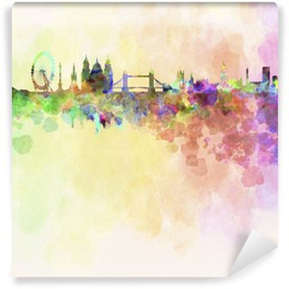 London skyline in watercolor background Washable Wall Mural