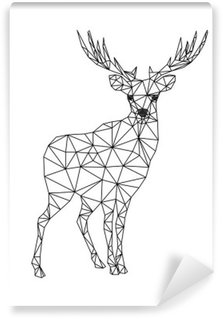 Low poly character of deer. Designs for xmas. Christmas illustration in line art style. Isolated on white background. Washable Wall Mural