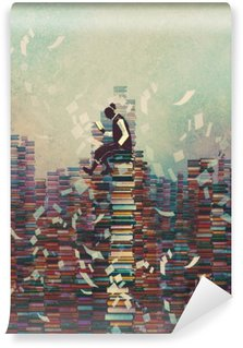 Washable Wall Mural man reading book while sitting on pile of books,knowledge concept,illustration painting