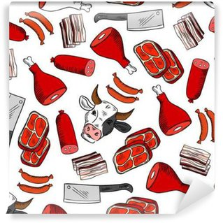 Meat cuts seamless pattern for butcher shop design