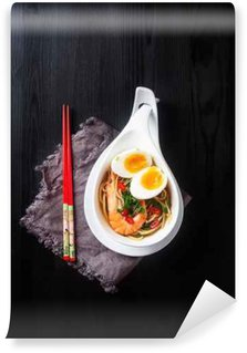 Washable Wall Mural Miso Ramen Asian noodles with egg, shrimp, green onions, chili p