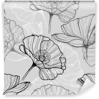 Monochrome seamless pattern with poppies. Hand-drawn floral background Washable Wall Mural