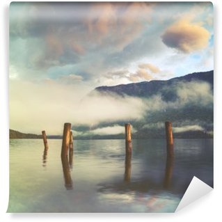mountain lake in the Italian Alps,retro colors, vintage Washable Wall Mural