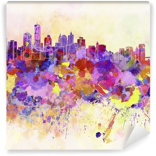 New York skyline in watercolor background Washable Wall Mural